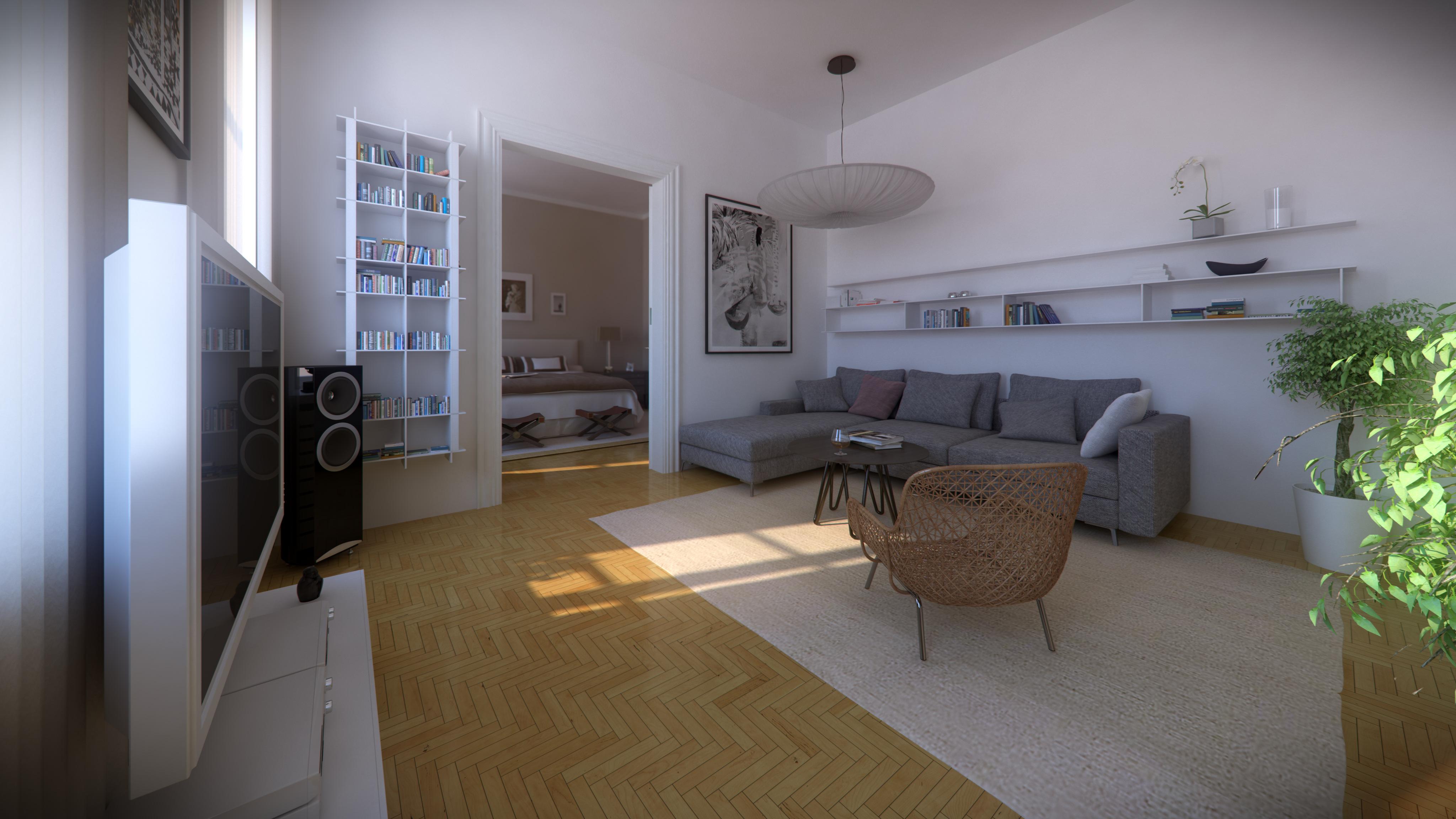 Architektur Rendering Wohnzimmer Altbau