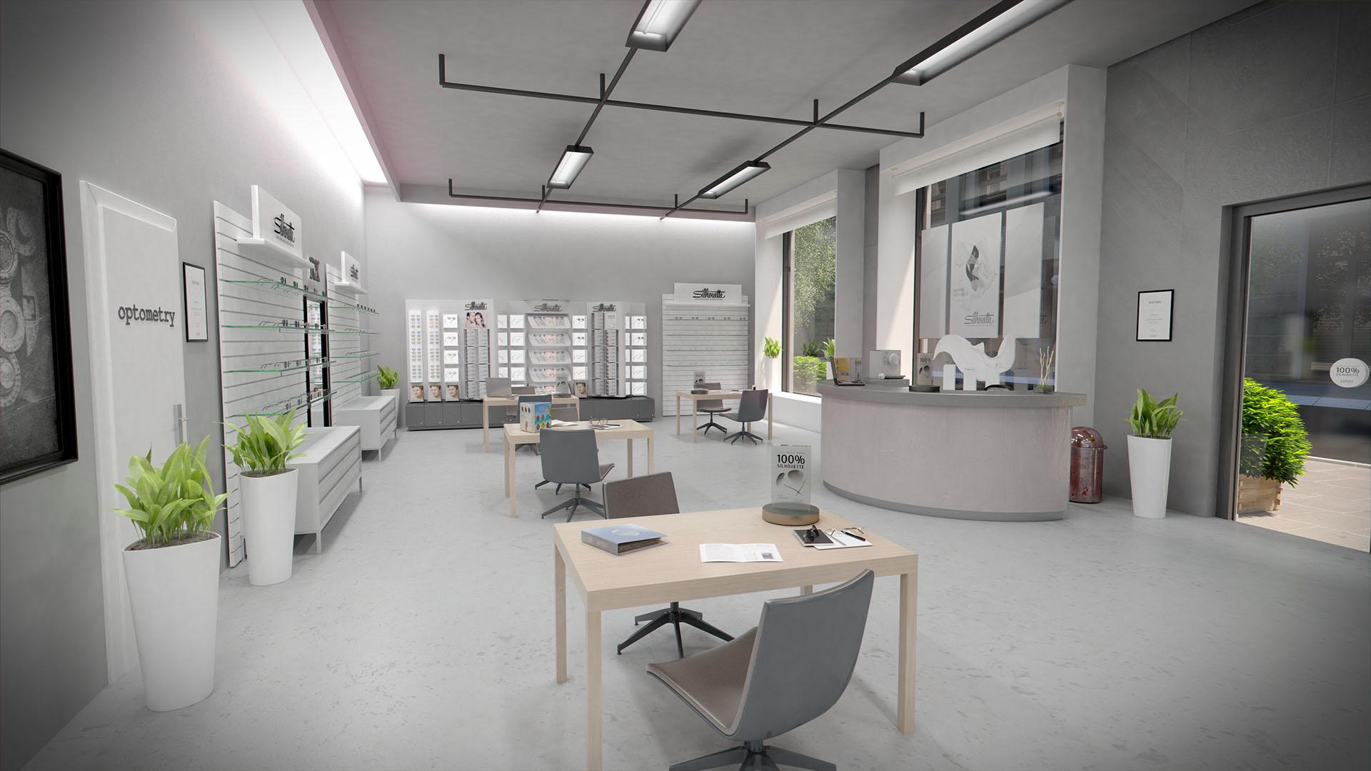 Architektur Rendering Flagship Store Optiker